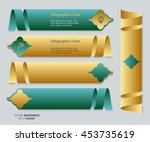 set of green and golden banners ... | Shutterstock .eps vector #453735619