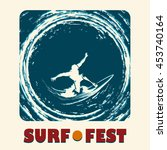 surf festival emblem with... | Shutterstock . vector #453740164