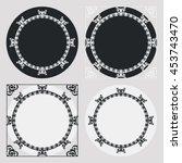 set of silhouette round frames... | Shutterstock .eps vector #453743470