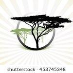 silhouette of africa trees ... | Shutterstock .eps vector #453745348