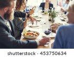 business people meeting eating... | Shutterstock . vector #453750634