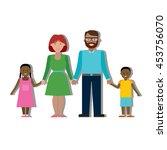 multicultural family on white... | Shutterstock . vector #453756070