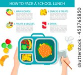 how to pack a school lunch ... | Shutterstock .eps vector #453765850