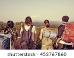 backpacker camping hiking... | Shutterstock . vector #453767860