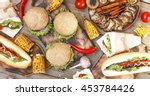closeup a variety of products.... | Shutterstock . vector #453784426