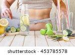 detox. young girl measures the ... | Shutterstock . vector #453785578