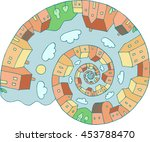 Spiral With Houses   Colored...