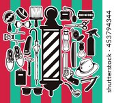 set of vector barber shop... | Shutterstock .eps vector #453794344