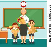 students congratulate teacher.... | Shutterstock .eps vector #453818863