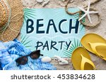 summer beach pineapple words... | Shutterstock . vector #453834628