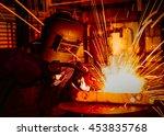 worker is welding in factory.  | Shutterstock . vector #453835768