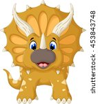 funny triceratops cartoon look... | Shutterstock .eps vector #453843748