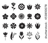 simple flowers icons set.... | Shutterstock .eps vector #453850078