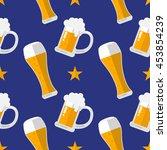 glass of beer flat seamless... | Shutterstock .eps vector #453854239