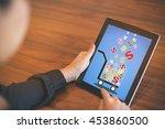woman using digital tablet to... | Shutterstock . vector #453860500