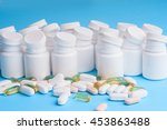 many pills and tablets isolated ... | Shutterstock . vector #453863488