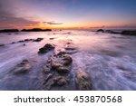 Waves Hits Rocks During Sunset...