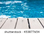 swimming pool and wooden deck... | Shutterstock . vector #453877654