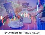 graph chart of stock market.... | Shutterstock . vector #453878104