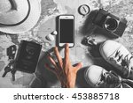 the hand of traveler touch on... | Shutterstock . vector #453885718