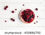 summer dessert on wooden white... | Shutterstock . vector #453886750