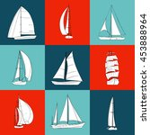 set of 9 boats with sails made... | Shutterstock .eps vector #453888964