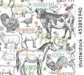 seamless pattern with livestock ... | Shutterstock .eps vector #453891940