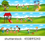 children playing games in the... | Shutterstock .eps vector #453895243