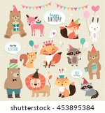 Stock vector set of cute cartoon animals for birthday card design 453895384