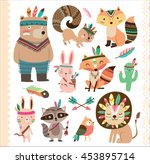 Stock vector set of cute tribal animals in cartoon style 453895714