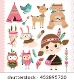 Stock vector set of cute tribal animals and a little girl in cartoon style 453895720