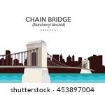 chain bridge in budapest  ... | Shutterstock .eps vector #453897004
