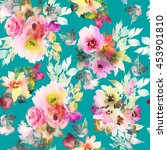 seamless pattern with flowers... | Shutterstock . vector #453901810