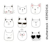 Stock vector cute cat doodle series cat avatars cats sketch line style icons flat cat animals cat logo cats 453902416
