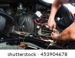 electrician works with electric ... | Shutterstock . vector #453904678