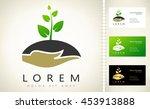hands holding plant vector logo | Shutterstock .eps vector #453913888