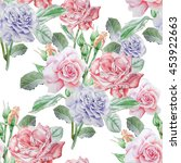 seamless pattern with roses....   Shutterstock . vector #453922663