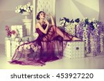 young daydream girl in dress... | Shutterstock . vector #453927220