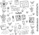 hand draw doodles school tools... | Shutterstock .eps vector #453935674