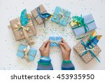 gifts wrapped in kraft paper.... | Shutterstock . vector #453935950