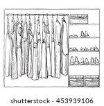 hand drawn wardrobe sketch.... | Shutterstock .eps vector #453939106