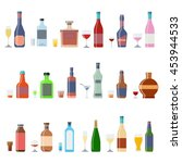 alcohol bottles beverages with... | Shutterstock .eps vector #453944533