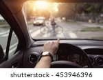 cyclist at a pedestrian crossing | Shutterstock . vector #453946396