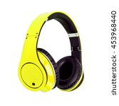 yellow headphones isolated on a ... | Shutterstock . vector #453968440
