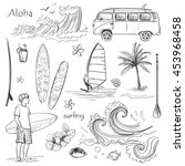 vector set of sketches on the... | Shutterstock .eps vector #453968458