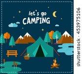 let's go camping. travel...   Shutterstock .eps vector #453975106