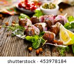 kofta skewers  meatballs and... | Shutterstock . vector #453978184