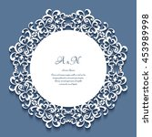 round frame with lace border... | Shutterstock .eps vector #453989998