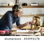 father daughter helping cooking ... | Shutterstock . vector #453993178