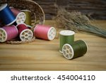 sewing tools and sewing kit on... | Shutterstock . vector #454004110
